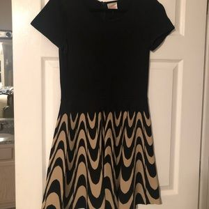 Parker dress with black and beige patterned skirt